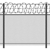 Prison privacy metal fence with barbed wire vector seamless black silhouette