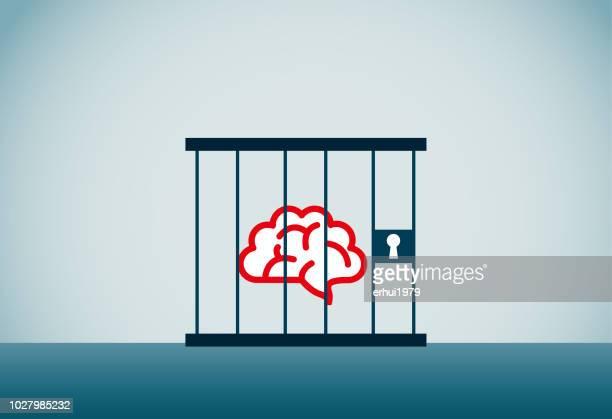 ilustraciones, imágenes clip art, dibujos animados e iconos de stock de cárcel - autismo