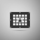 Prison window icon isolated on grey background. Flat design. Vector Illustration
