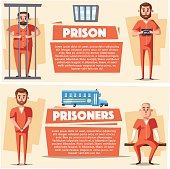 Prison with prisoner. Character design. Cartoon vector illustration