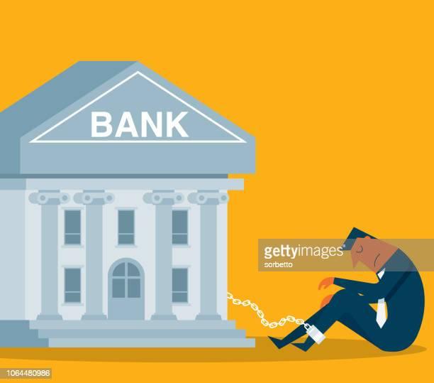 ilustrações, clipart, desenhos animados e ícones de prisioneiro - banco - empresário - cotação de juros