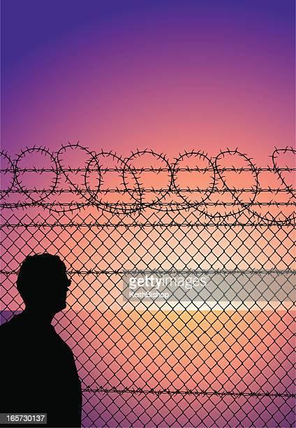 Prisoner Behind Barbed Wire Prison Fence