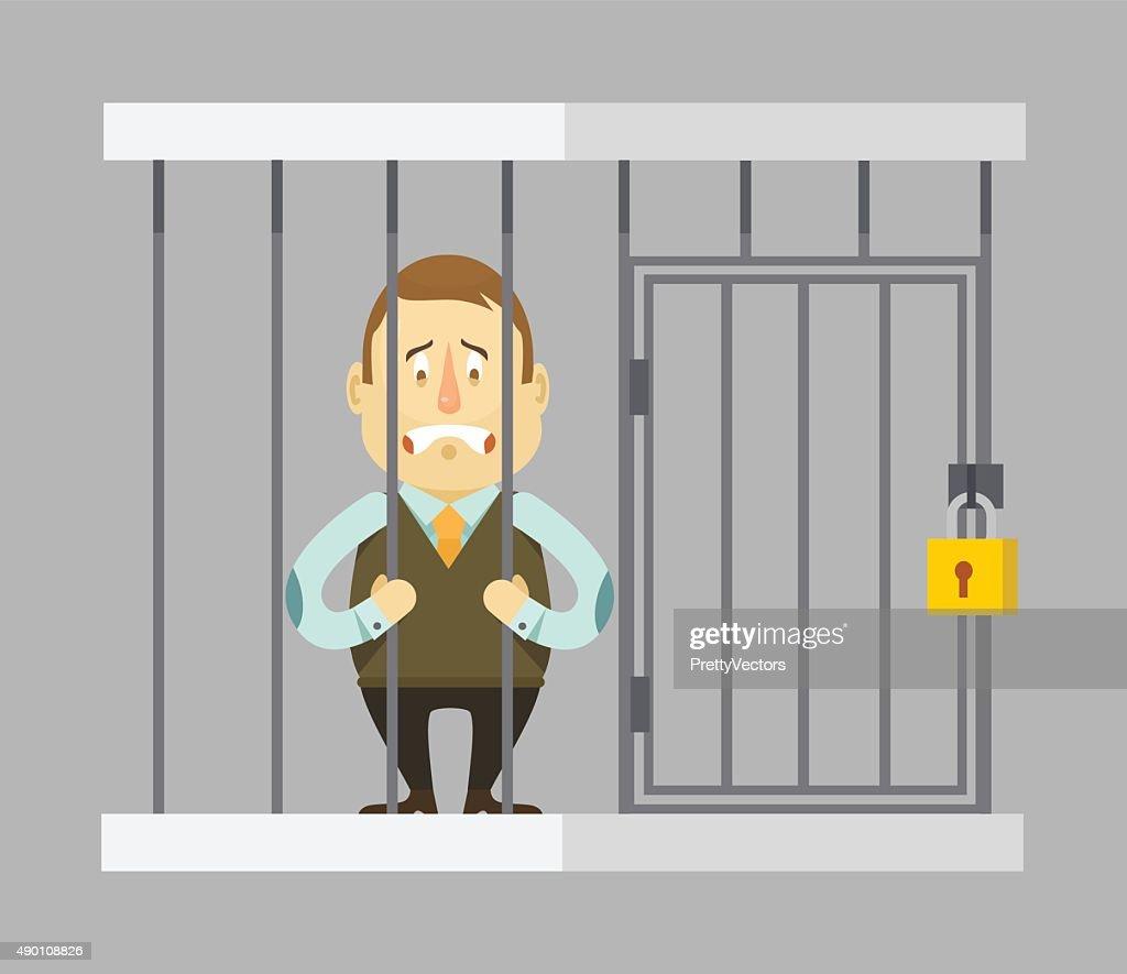 Prisoner businessman. Vector flat illustration