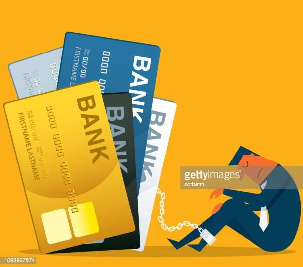 prisoner - credit card - businessman - debt stock illustrations