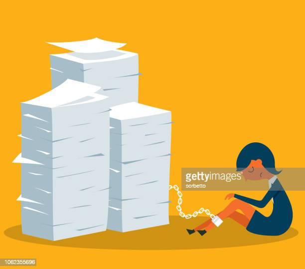 prisoner - job - businesswoman - stacking stock illustrations