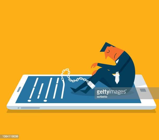 ilustrações de stock, clip art, desenhos animados e ícones de prisoner - mobile phone - businessman - proibido celular