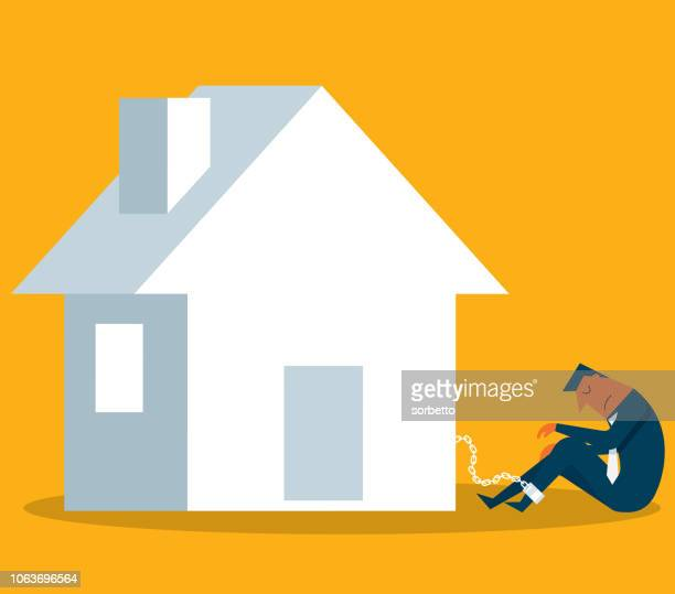 prisoner - mortgage - businessman - housing difficulties stock illustrations