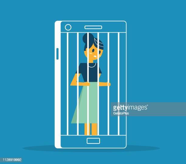 ilustrações de stock, clip art, desenhos animados e ícones de prisoner - smartphone - businesswoman - proibido celular