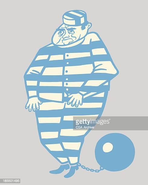 ilustraciones, imágenes clip art, dibujos animados e iconos de stock de preso con bola de hierro y cadena - bola de hierro y cadena
