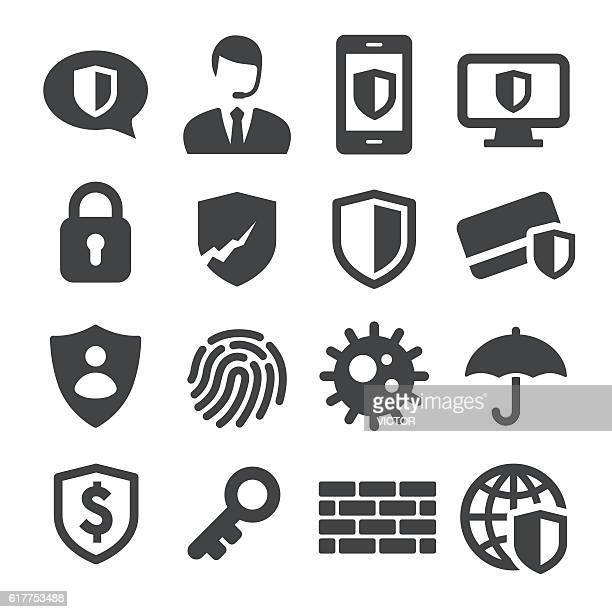 privacy and internet security icons - acme series - shield stock illustrations