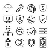Privacy and Internet Security Icons Set - Line Series