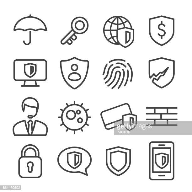 privacy and internet security icons set - line series - identity theft stock illustrations