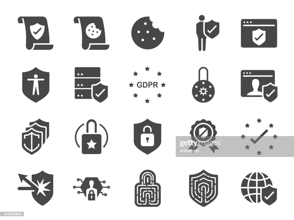 Privacy policy icon set. Included the icons as security information, GDPR, data protection, shield, cookies policy, compliant, personal data, padlock and more