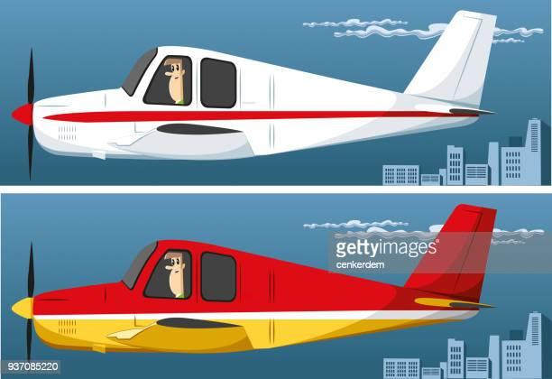 ilustrações, clipart, desenhos animados e ícones de avião particular - vista lateral