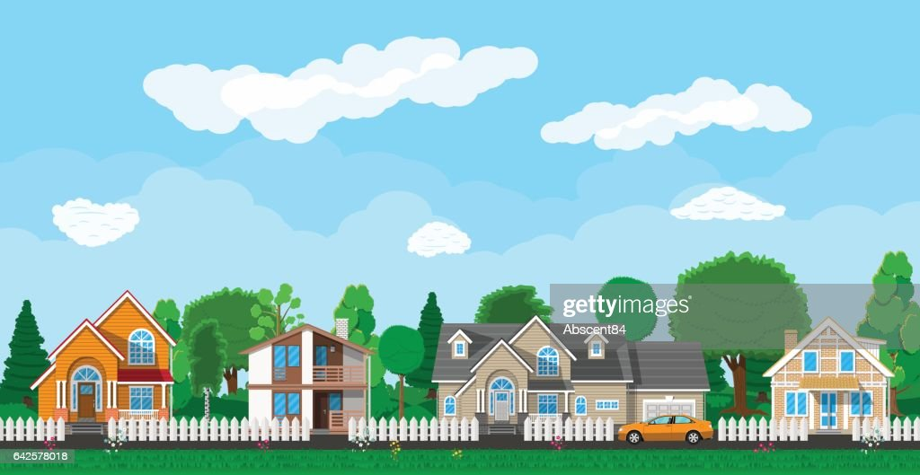 Private suburban houses with car