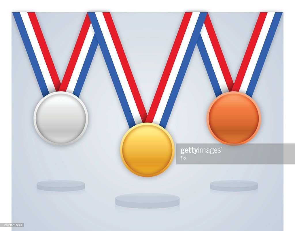 Prize Medals and Awards Gold Silver and Bronze : stock illustration