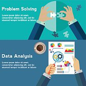 Problem solving and data analysis vector concept