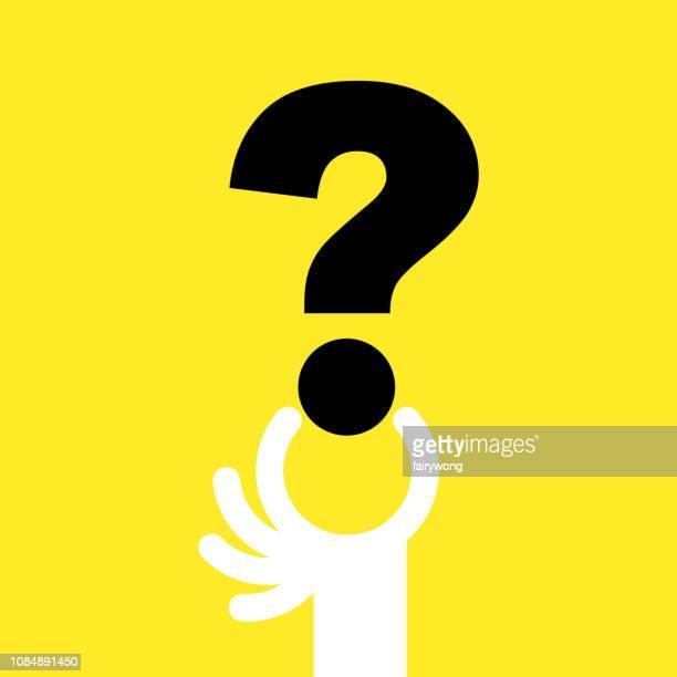 ilustraciones, imágenes clip art, dibujos animados e iconos de stock de problemas, signo de interrogación con mano humana - uncertainty