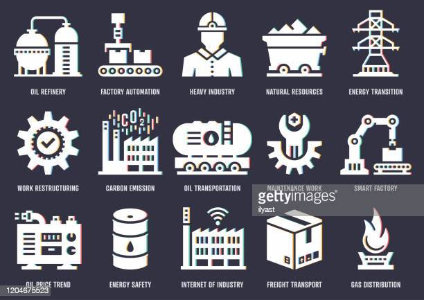 process industry insights vector icon pack with rgb split effect - power supply stock illustrations