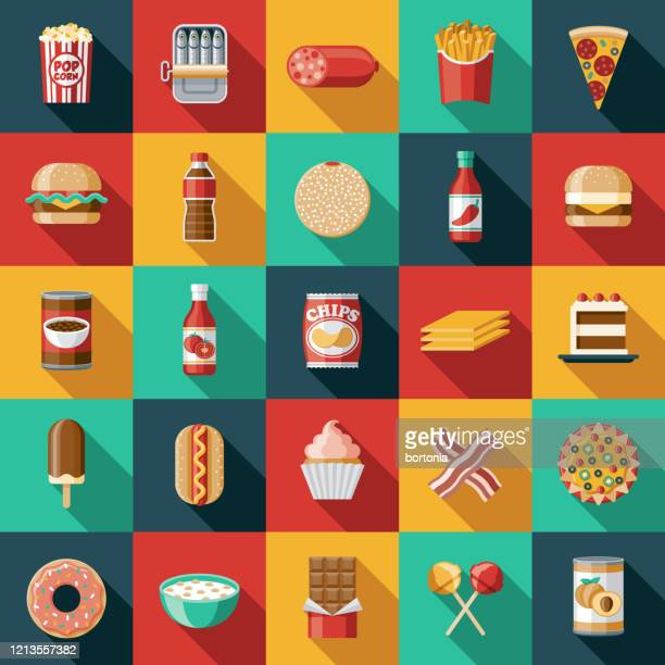 processed foods icon set - unhealthy eating stock illustrations