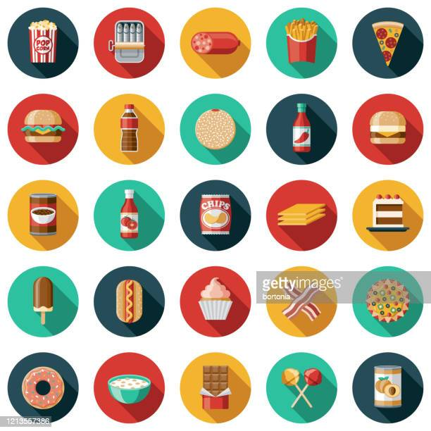 processed foods icon set - nachos stock illustrations