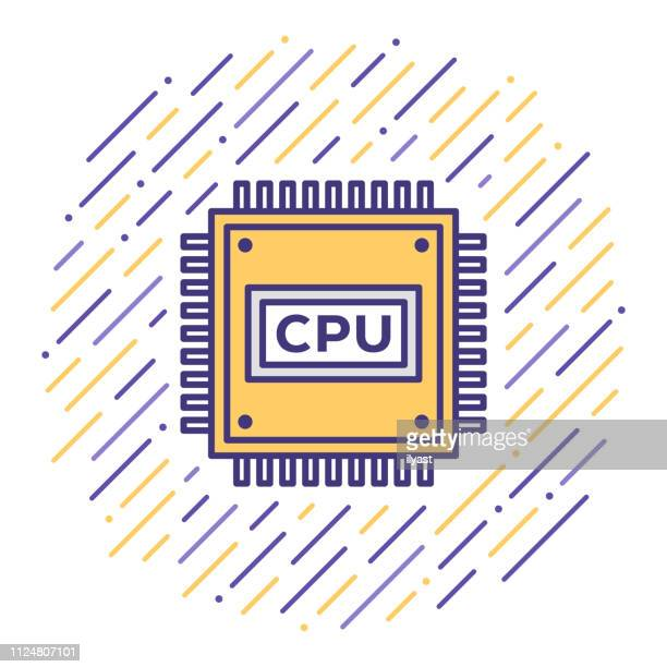 cpu processing speed flat line icon illustration - deep learning stock illustrations