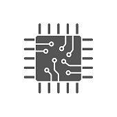 Processor vector icon isolated on white background, quad octa -core processor logo concept. EPS 10