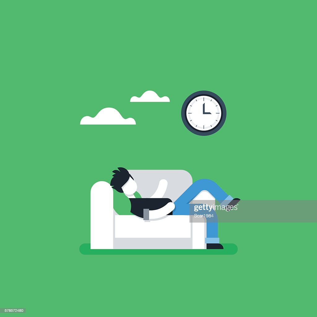 Procrastination concept, lazy man on sofa, couch potato, tired person