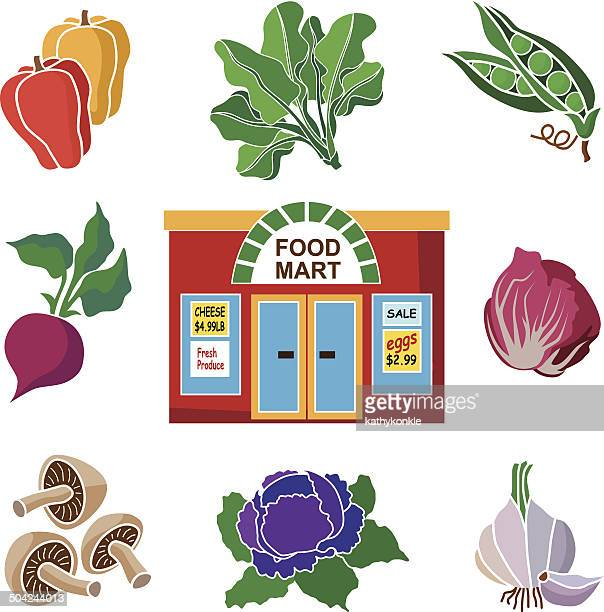 produce department at the grocery store - endive stock illustrations, clip art, cartoons, & icons