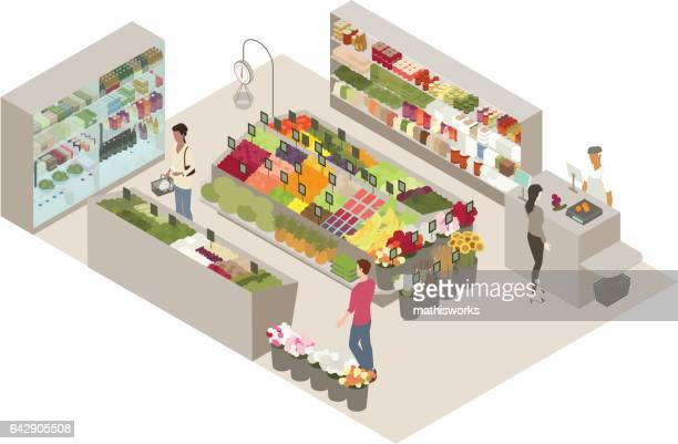 produce shop illustration - mathisworks business stock illustrations