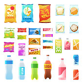 Product for vending. Tasty snacks sandwich biscuit candy chocolate drinks juice beverages pack retail, set flat vector icons