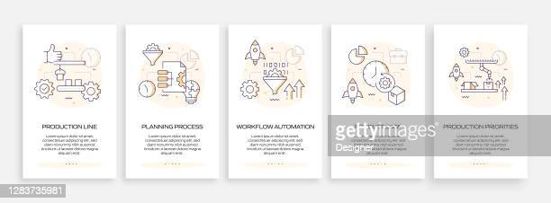 product management concept onboarding mobile app page screen with flat icons. ux, ui design template vector illustration - admiration stock illustrations
