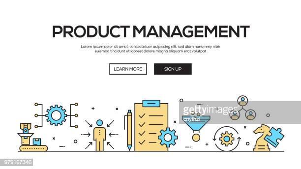 Product Management Flat Line Web Banner Design