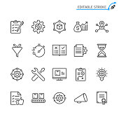 Product management line icons. Editable stroke. Pixel perfect.