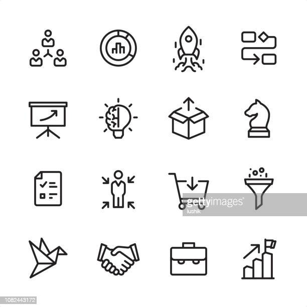 product management - outline icon set - shopping cart stock illustrations