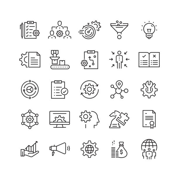 product management related vector line icons - vector stock illustrations