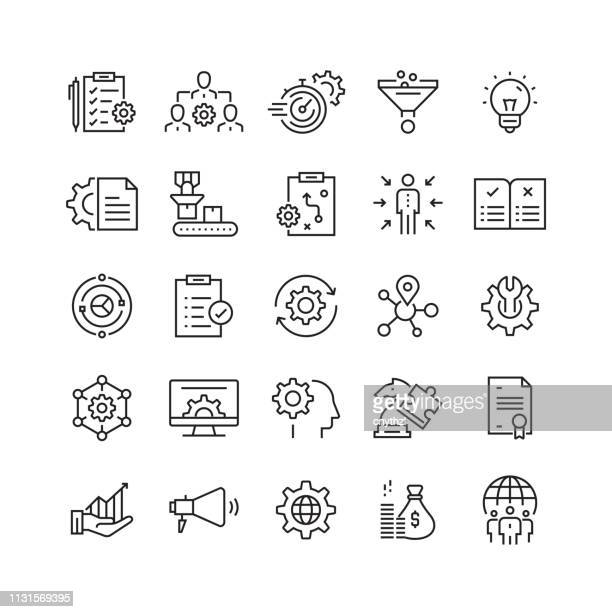 illustrazioni stock, clip art, cartoni animati e icone di tendenza di product management related vector line icons - strategia