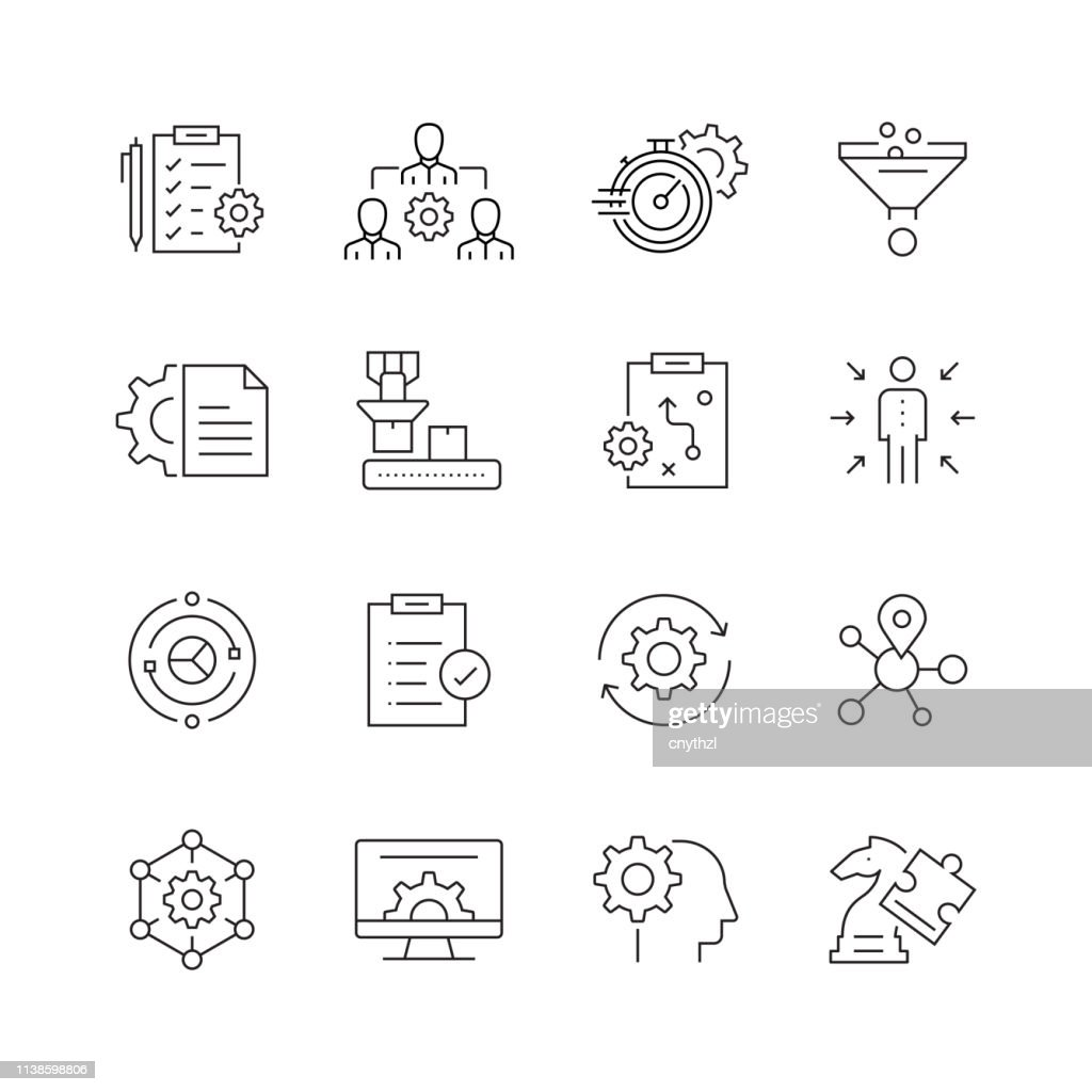 Product Management - Set of Thin Line Vector Icons : Stock Illustration