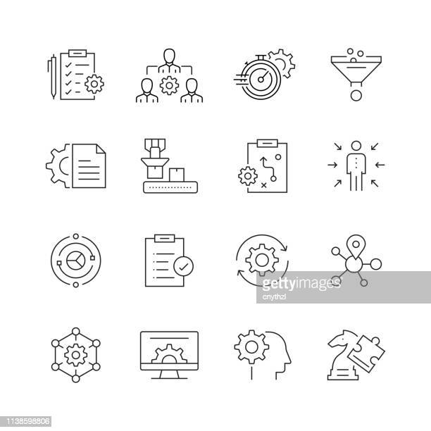 product management - set of thin line vector icons - finance and economy stock illustrations