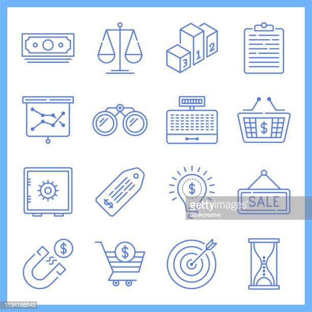 product merchandising system blueprint style vector icon set - spending money stock illustrations, clip art, cartoons, & icons