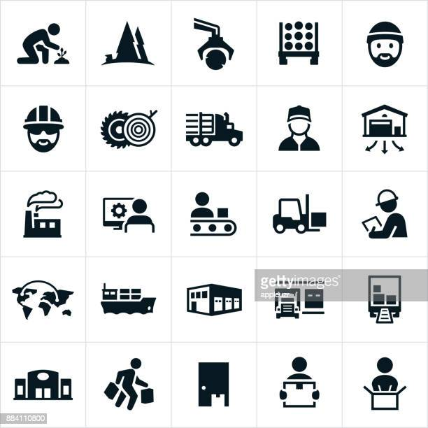 product supply chain icons - shipping stock illustrations