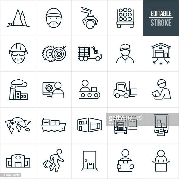 product supply chain thin line icons - editable stroke - warehouse stock illustrations
