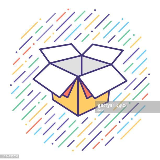 ilustraciones, imágenes clip art, dibujos animados e iconos de stock de producto unboxing flat line icono ilustración - actividad física