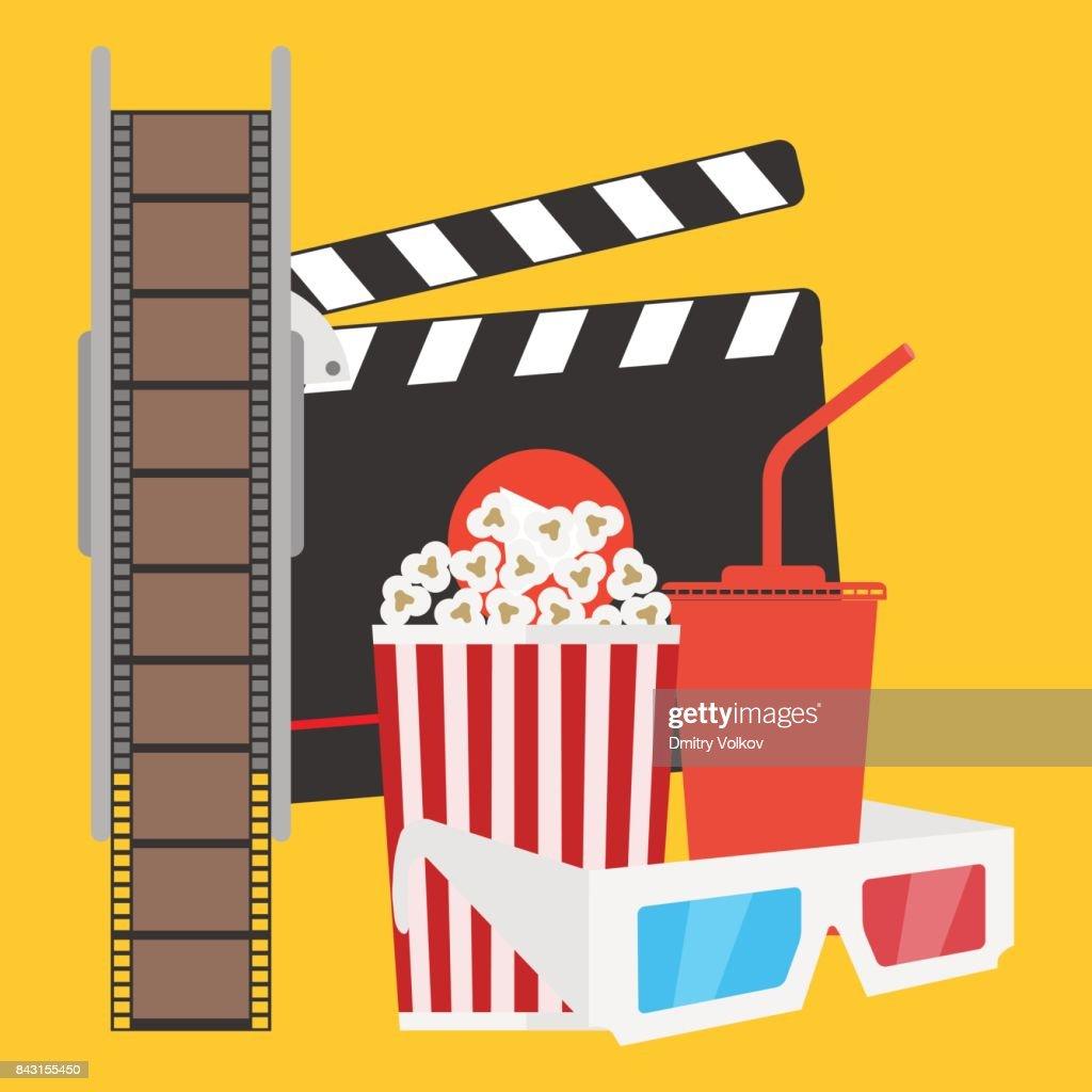 Production of film, film, popcorn, cola, 3d glasses