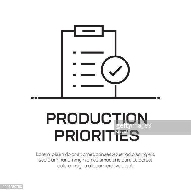 ilustraciones, imágenes clip art, dibujos animados e iconos de stock de prioridades de producción icono de línea vectorial: icono de línea delgada simple, elemento de diseño de calidad premium - agilidad