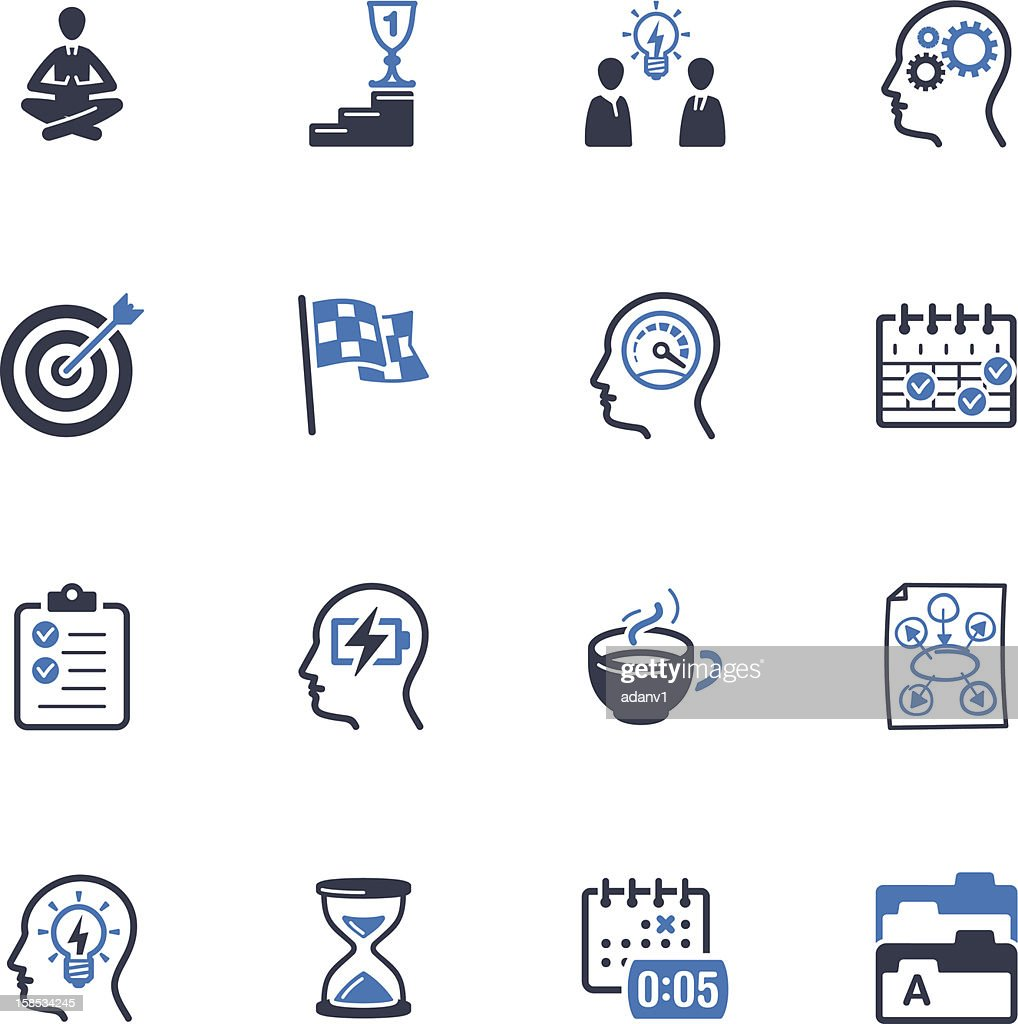 Productive at Work icons colored in blue