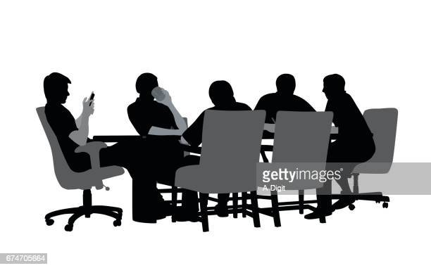 productive meeting - conference table stock illustrations, clip art, cartoons, & icons
