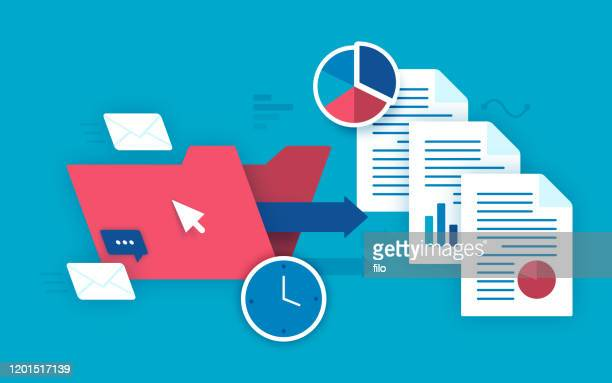 productivity business files and communication - letter document stock illustrations