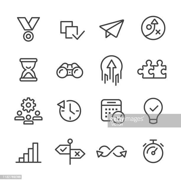 productivity icons - line series - taking off activity stock illustrations