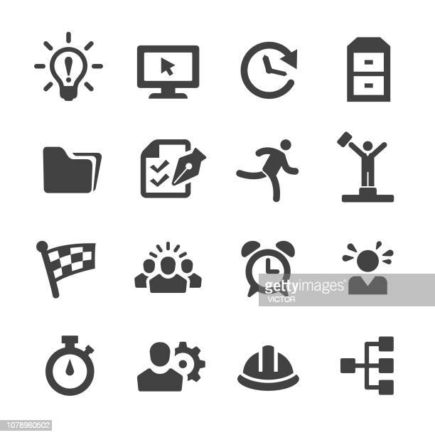 productivity icons set - acme series - rolodex stock illustrations, clip art, cartoons, & icons
